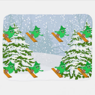 Snowboarding Christmas Tree Baby Blanket