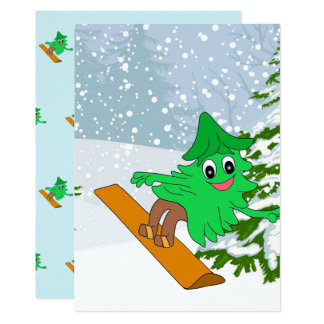 Snowboarding Christmas Tree Card