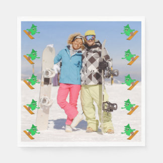 Snowboarding Christmas Tree Paper Napkin