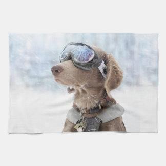 Snowboarding dog -dog winter -dog glasses kitchen towel
