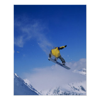 Snowboarding in Grizzly Gulch, Little Cottonwood Poster