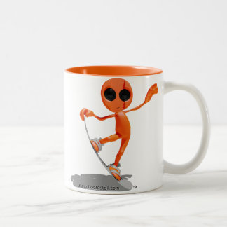 Snowboarding Orange Alien Mug