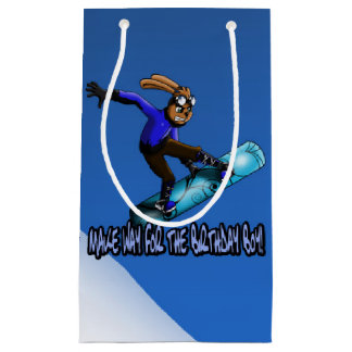 Snowboarding Rabbit B-day Gift Bag - Small, Glossy