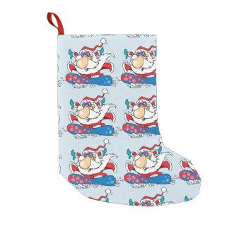 Snowboarding Santa Clause Small Christmas Stocking