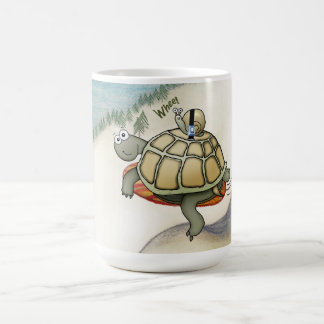snowboarding turtle and seatbelted snail coffee mug