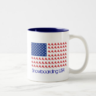 Snowboarding, USA Two-Tone Coffee Mug