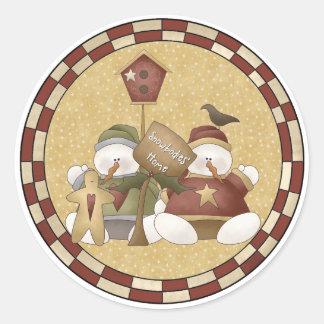 Snowbodies Home Snowmen Round Sticker