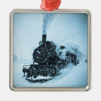 Snowbound Locomotive Metal Ornament