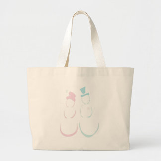 Snowcouple in Icy Pink and Blue Large Tote Bag