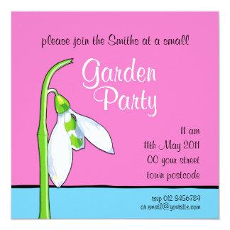 Snowdrop pink blue Garden Party Invitation