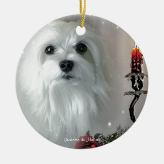 Snowdrop the Maltese Ceramic Ornament
