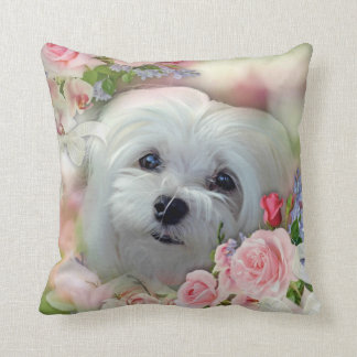 Snowdrop the Maltese Pillow/Cushion Throw Pillow