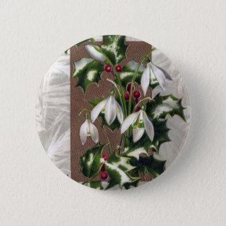 Snowdrops and Holly Vintage Christmas 2 Inch Round Button