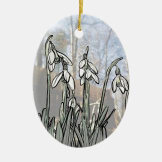 Snowdrops Ceramic Ornament