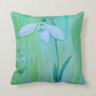 Snowdrops painting throw pillow