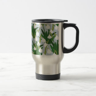 snowdrops pattern travel mug