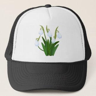 snowdrops pattern trucker hat