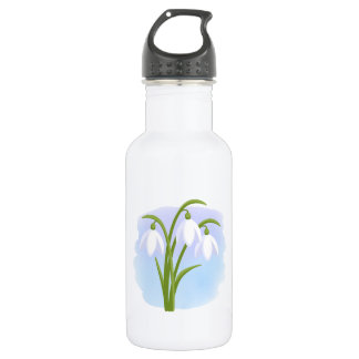 Snowdrops - Spring Flowers on Watercolor Blue 532 Ml Water Bottle