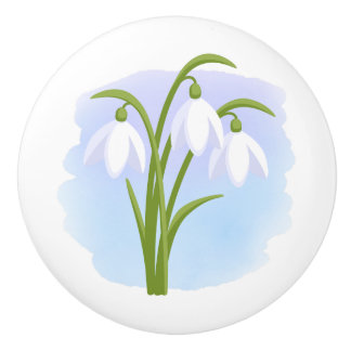 Snowdrops - Spring Flowers on Watercolor Blue Ceramic Knob