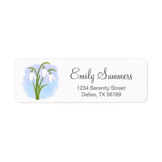 Snowdrops - Spring Flowers on Watercolor Blue Return Address Label