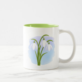 Snowdrops - Spring Flowers on Watercolor Blue Two-Tone Coffee Mug