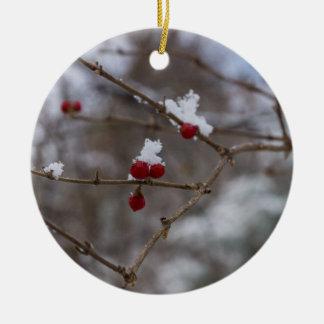 Snowed Berries Ceramic Ornament