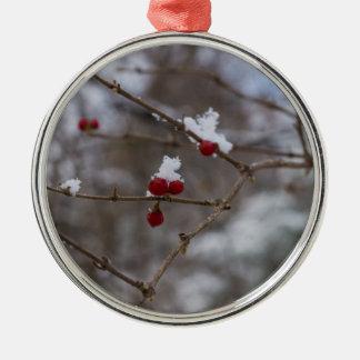 Snowed Berries Metal Ornament