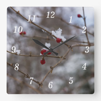 Snowed Berries Square Wall Clock