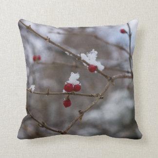 Snowed Berries Throw Pillow