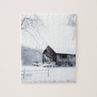 Snowed in Christmas Barn Jigsaw Puzzle
