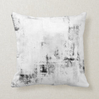 'Snowfall' Black and White Abstract Art Pillow