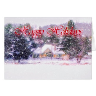 Snowfall on the Winter Cottage Card