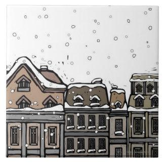 Snowfall over a city ceramic tiles