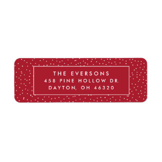 Snowfall Return Address Labels | Red