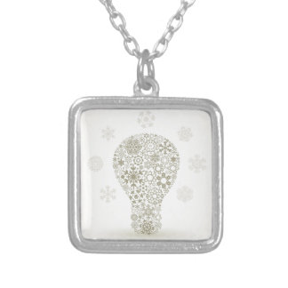 Snowflake a bulb silver plated necklace