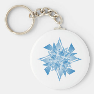 snowflake abstract basic round button keychain