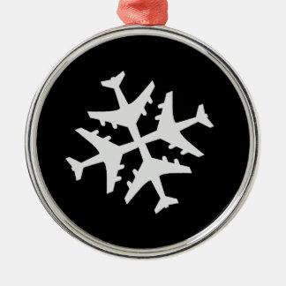 Snowflake Airplane Metal Ornament