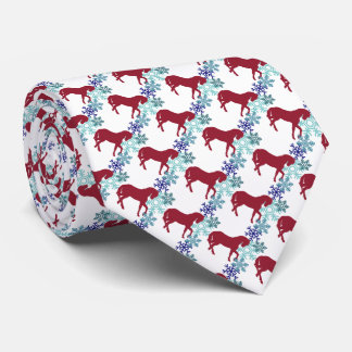 Snowflake and Horse Christmas Neck Tie