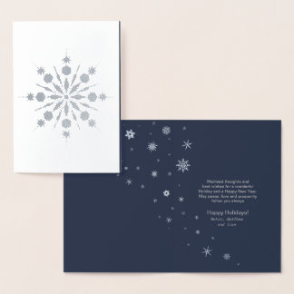 Snowflake and Snow Flurries Christmas Silver ID426 Foil Card