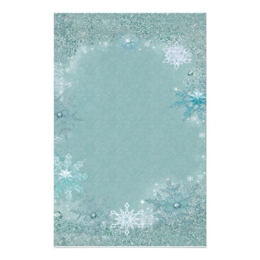 Snowflake Aqua Frost Stationery Paper