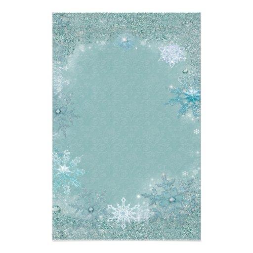 Snowflake Aqua Frost Stationery Paper