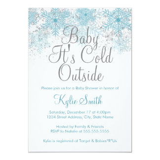 Snowflake Baby It's Cold Outside Baby Shower Card