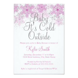 Snowflake Baby It's Cold Outside Baby Shower Pink Cards