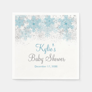 Snowflake Baby It's Cold Outside Napkins Paper Napkins