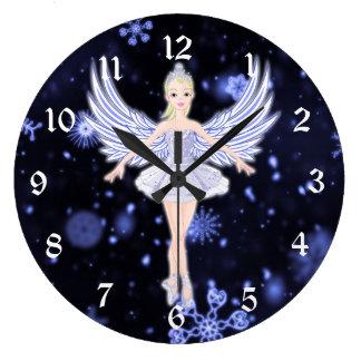 Snowflake Ballerina fairy Large Clock