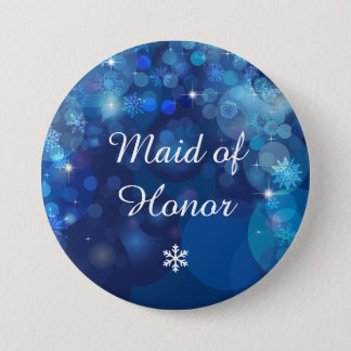 Snowflake Blue Bokeh Winter Bridal Party 3 Inch Round Button