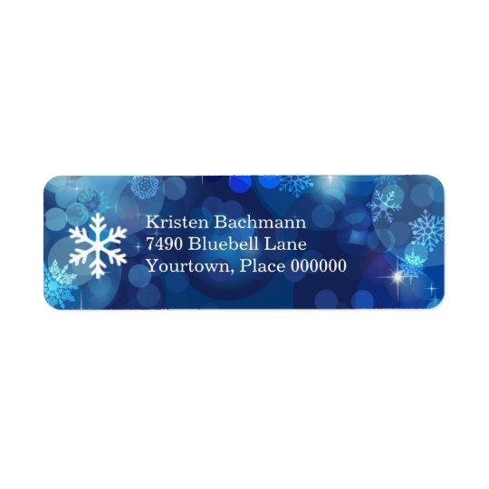 Snowflake Blue Bokeh Winter Return Address Label