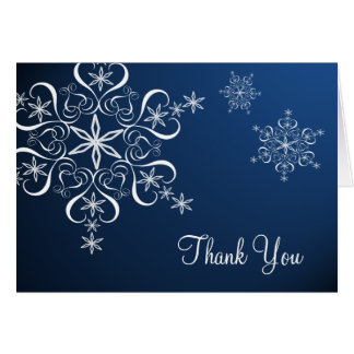 Snowflake Blue Elegance Thank You Card