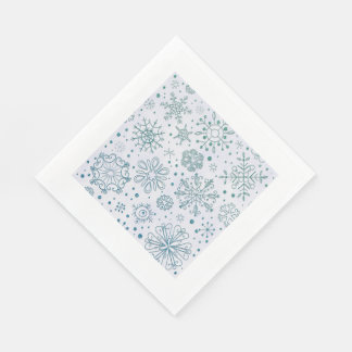 Snowflake Blue Glitter Pattern Disposable Napkin