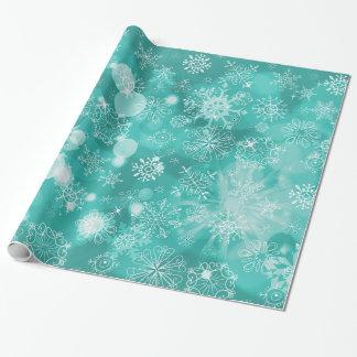 Snowflake Bokeh Teal Wrapping Paper